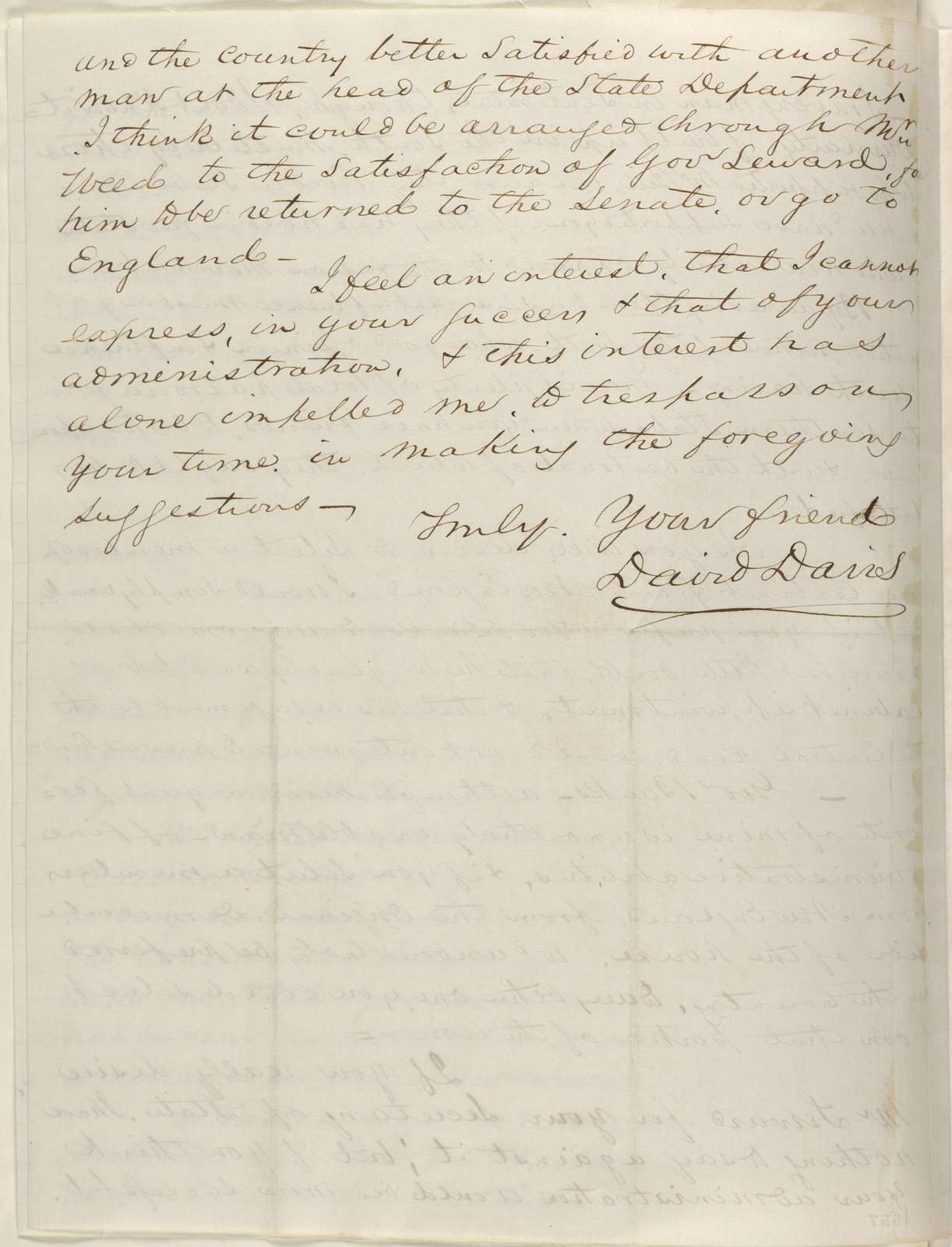 Abraham Lincoln papers: Series 1. General Correspondence. 1833-1916: David Davis to Abraham Lincoln, Monday, November 19, 1860 (Wants Caleb Smith in cabinet)