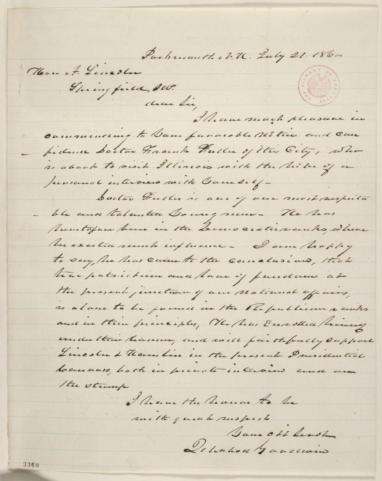 Abraham Lincoln papers: Series 1. General Correspondence. 1833-1916: Ichabod Goodwin to Abraham Lincoln, Saturday, July 21, 1860 (Introduction)