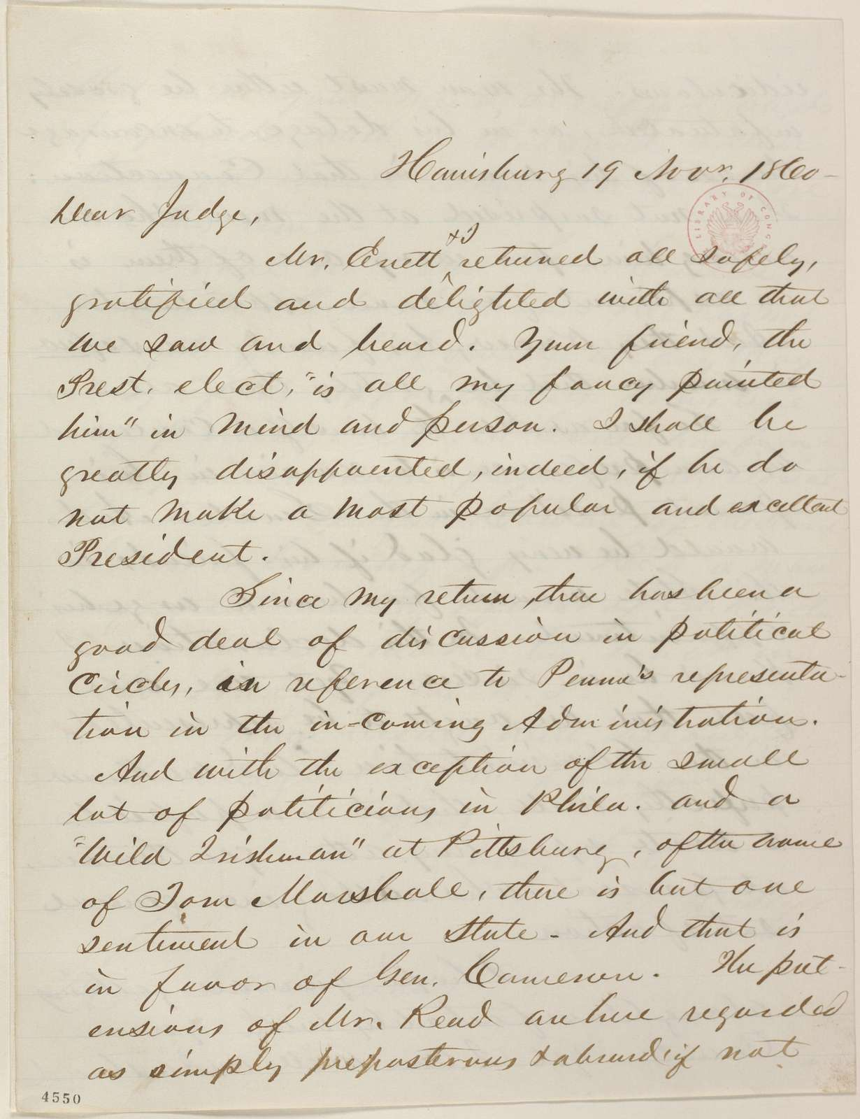 Abraham Lincoln papers: Series 1. General Correspondence. 1833-1916: Joseph Casey to David Davis, Monday, November 19, 1860 (Cabinet appointments)