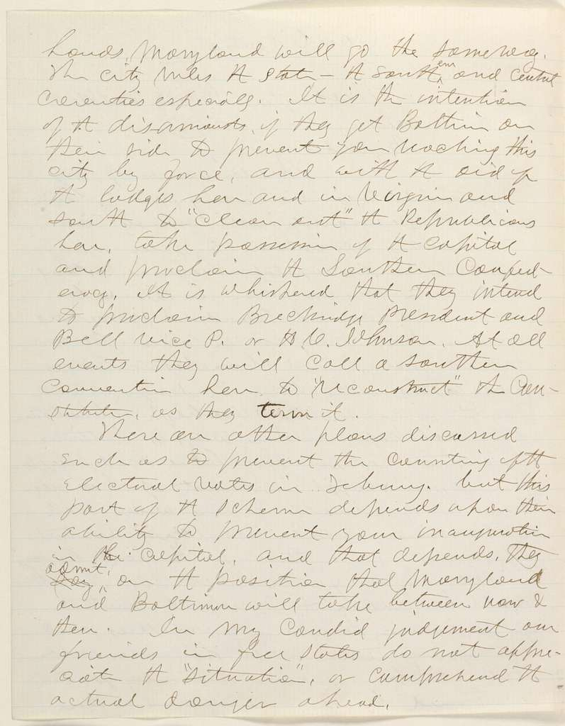 Abraham Lincoln papers: Series 1. General Correspondence. 1833-1916: Joseph Medill to Abraham Lincoln, Wednesday, December 26, 1860 (Secessionist plots against Lincoln in Washington)