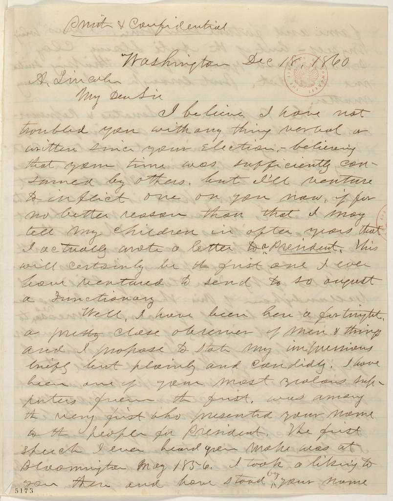 Abraham Lincoln papers: Series 1. General Correspondence. 1833-1916: Joseph Medill to Abraham Lincoln, Tuesday, December 18, 1860 (Report from Washington on cabinet appointments and crisis with South)