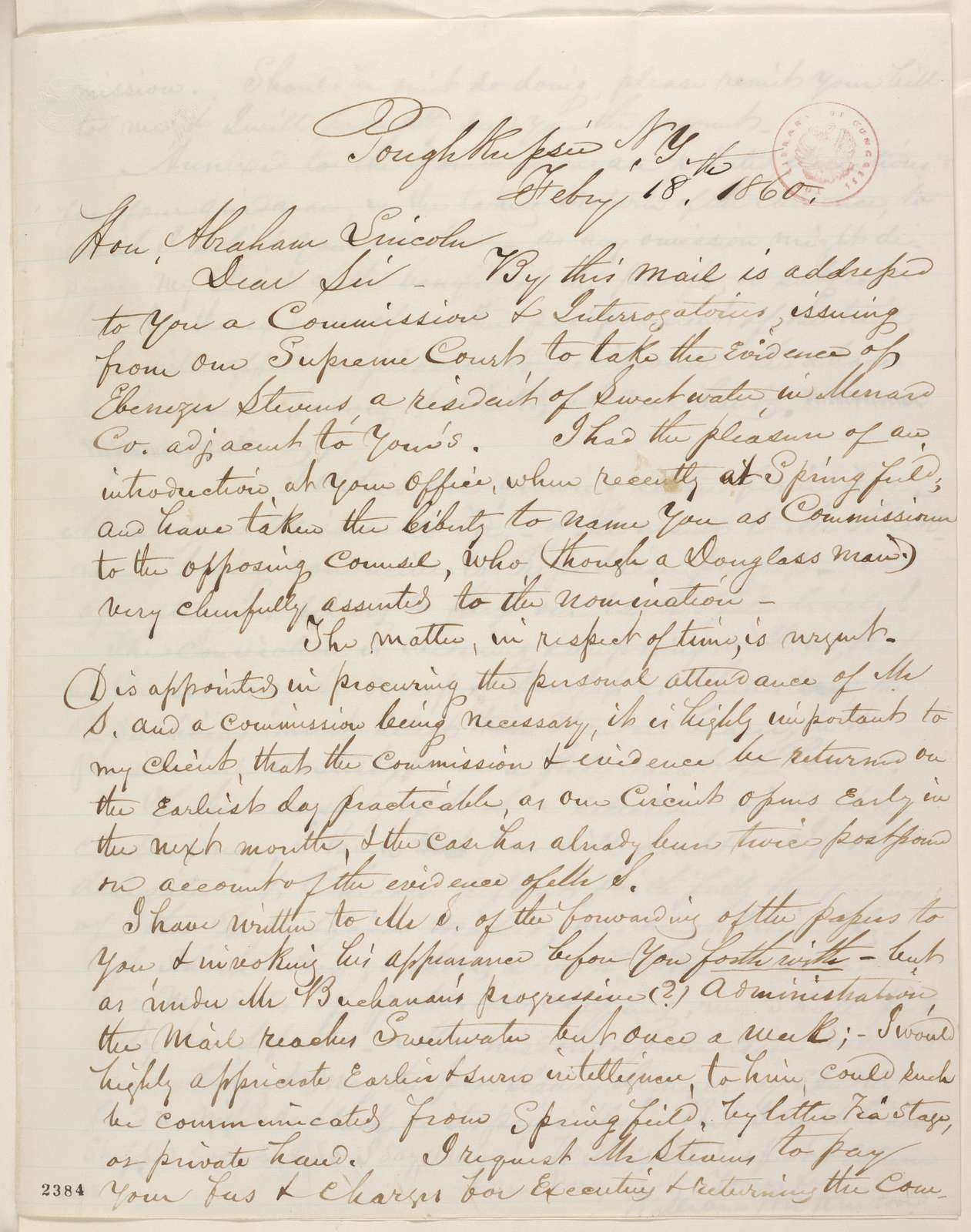 Abraham Lincoln papers: Series 1. General Correspondence. 1833-1916: William Wilkinson to Abraham Lincoln, Saturday, February 18, 1860