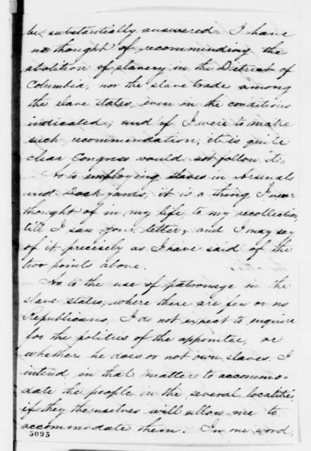 Abraham Lincoln to John A. Gilmer, Saturday, December 15, 1860  (Lincoln will not issue statement to reassure South)