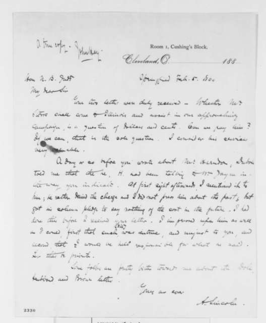 Abraham Lincoln to Norman B. Judd, Sunday, February 05, 1860  (Remarks by Herndon)