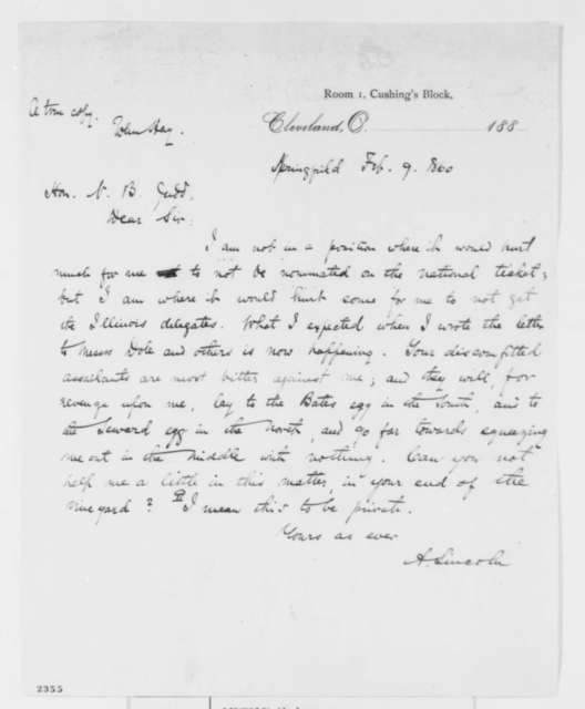 Abraham Lincoln to Norman B. Judd, Thursday, February 09, 1860  (Campaign strategy)