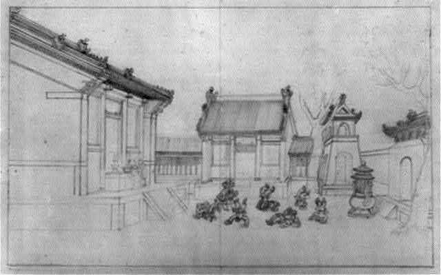 [Acrobats with cymbals tumbling in a courtyard at a Buddhist temple, with people placing offerings on an altar on the left, also gates and other temple structures]