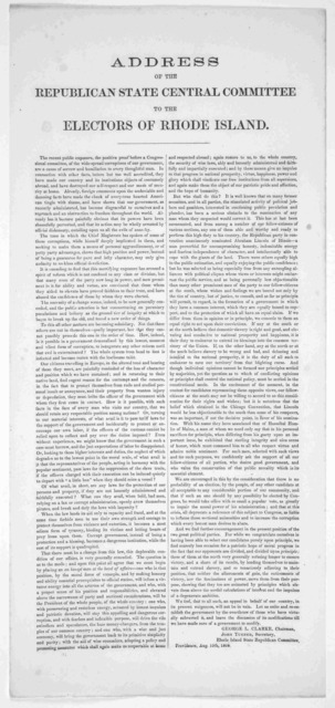 Address of the Republican state central committee to the electors of Rhode Island ... Providence, Aug. 10th, 1860.