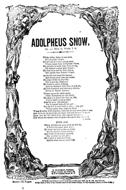 Adolpheus Snow. Air.-Blow, ye winds, I. O. H. De Marsan, Publisher, &c.,  38 & 60 Chatham Street, N.Y