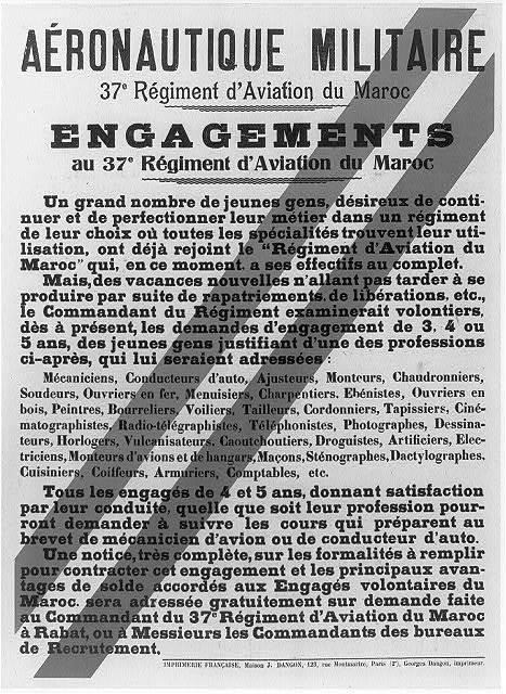 Aéronautique militaire, 37e régiment d'aviation du Maroc - engagements ...
