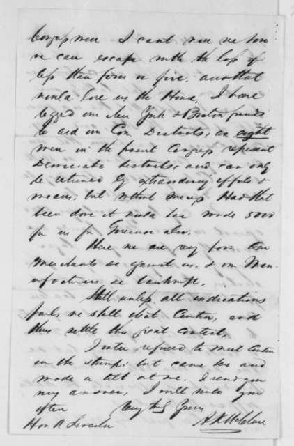 Alexander K. McClure to Abraham Lincoln, Thursday, September 27, 1860  (Problems with Democratic postmasters)