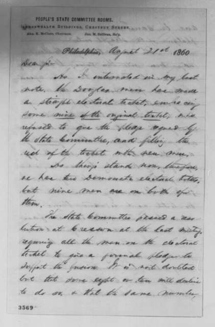 Alexander K. McClure to Abraham Lincoln, Tuesday, August 21, 1860  (Politics in Pennsylvania)