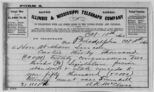 Alexander K. McClure to Abraham Lincoln, Wednesday, October 10, 1860  (Telegram reporting Pennsylvania election results)