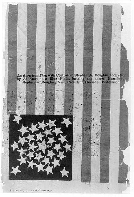 [American flag campaign banner for Stephen A. Douglas and Herschel V. Johnson]