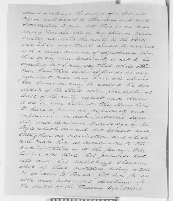 Andrew H. Reeder to Abraham Lincoln and Simon Cameron, Wednesday, November 21, 1860  (Recommends Cameron for cabinet)