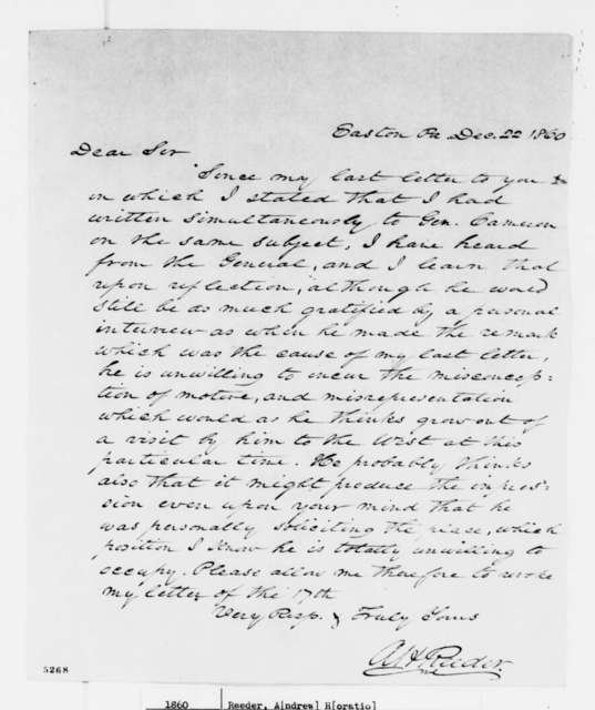 Andrew H. Reeder to Abraham Lincoln, Saturday, December 22, 1860  (Revokes letter of Dec. 17)