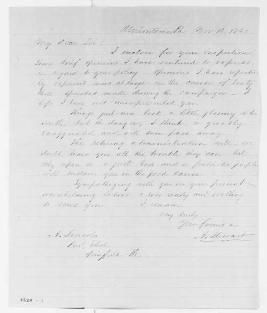 Andrew Stewart to Abraham Lincoln, Friday, November 16, 1860  (Sends clipping)