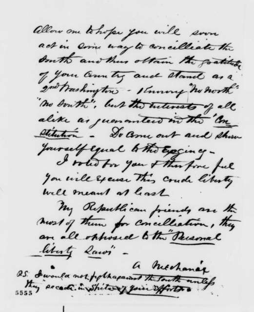 """Anonymous.  """"A Mechanic"""" to Abraham Lincoln, [1860]  (Support)"""