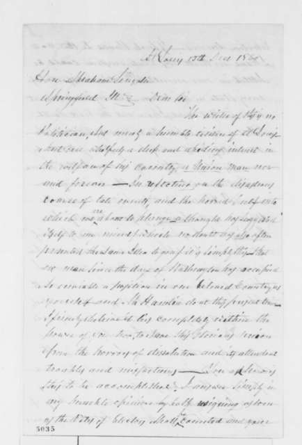 Anonymous to Abraham Lincoln, Thursday, December 13, 1860  (Suggests Lincoln and Hamlin resign in order to prevent disunion)
