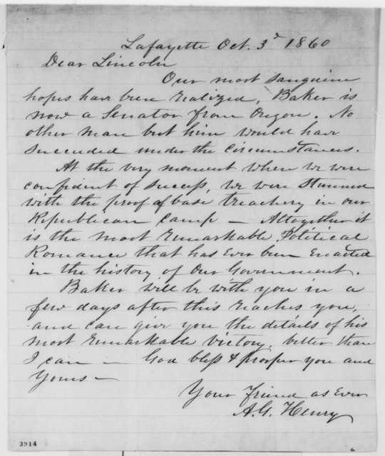 Anson G. Henry to Abraham Lincoln, Wednesday, October 03, 1860  (Oregon politics)