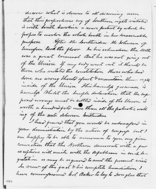 Archibald Williams to Abraham Lincoln, Wednesday, December 19, 1860  (Report from Washington D.C.)