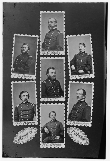 Army of Potomac: J.C. Parke, C.G. Meade, W.S. Hancock, G.K. Warren, U.S. Grant, A.A. Humphrey, and H.C. Wright