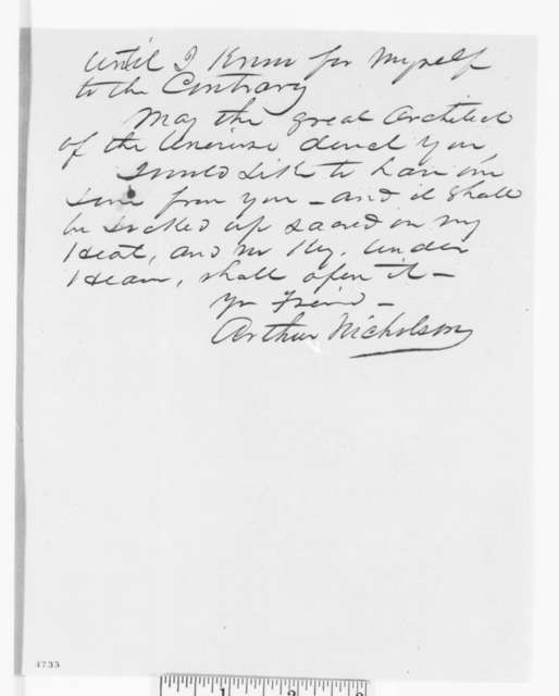 Arthur Nicholson to Abraham Lincoln, Friday, November 30, 1860  (Wants Lincoln to appoint conservative Southerners)