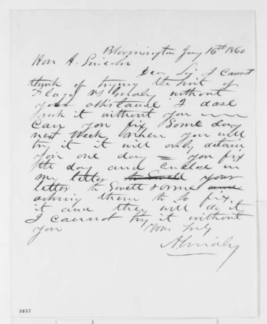 Asahel Gridley to Abraham Lincoln, Monday, January 16, 1860  (Legal matters)