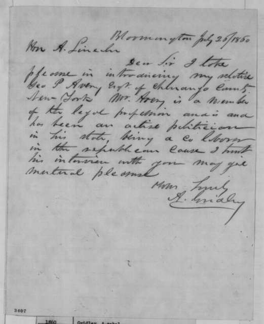 Asahel Gridley to Abraham Lincoln, Thursday, July 26, 1860  (Introduction)