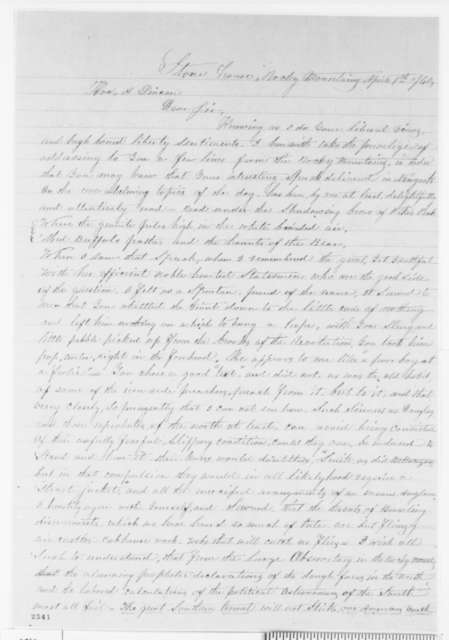 B. F. Lemen to Abraham Lincoln, Sunday, April 01, 1860  (Cooper Union)