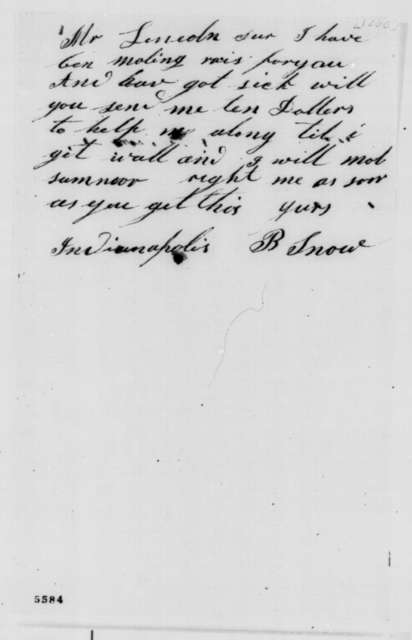 B. Snow to Abraham Lincoln,  1860  (Wants money)