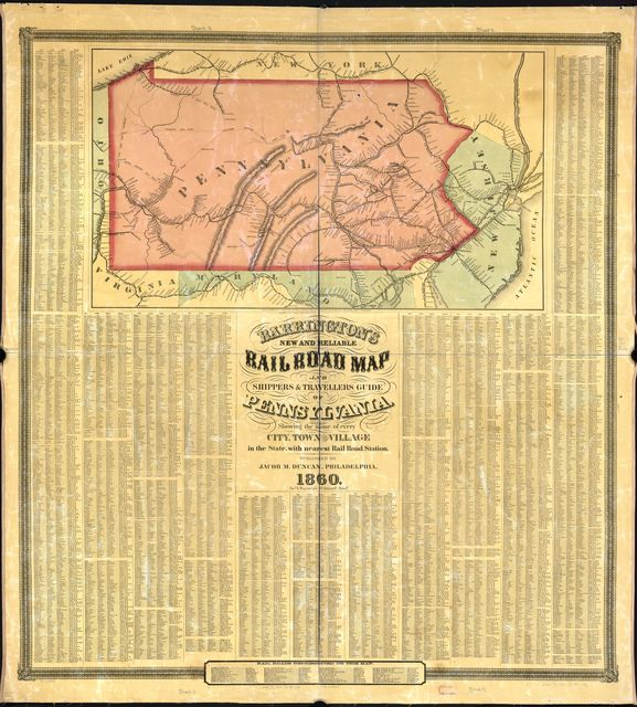 Barringtons new and reliable railroad map and shippers & travellers guide of Pennsylvania, Engrd. by Ths. Leonhardt, showing the name of every city, town and village in the state, with nearest rail road station.