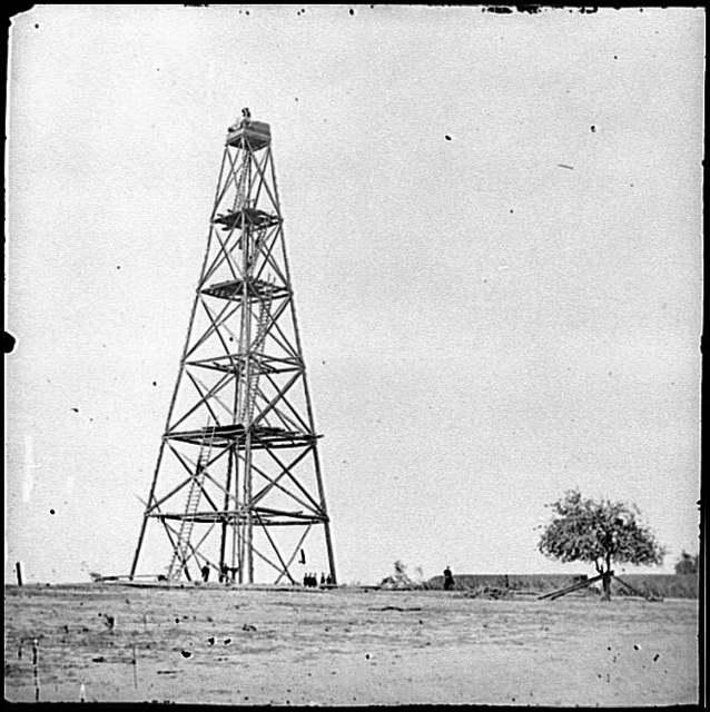[Bermuda Hundred, Va. Signal tower on left of the line near the Appomattox River]