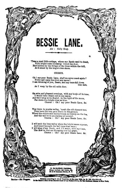 Bessie Lane. Air: Nelly Gray. H. De Marsan, Publisher, ... 38 Chatham Street N. Y. [c. 1860]