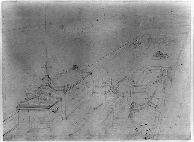 [Bird's-eye view of a church in a walled compound in Beijing]