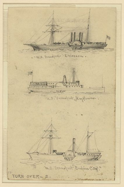 "[Broadside views of three sidewheel steamships:] U.S. Transport Ericcson, U.S. Transport Mayflower, and U.S. Transport ""Empire City"""