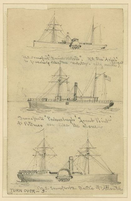 [Broadside views of three steamships]