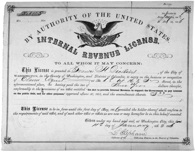 By authority of the United States. Internal revenue licence ... Collection district in the District of Columbia. [Washington D. C. 186-].