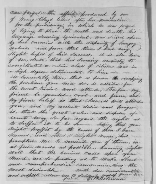 C. B. Coleman to Abraham Lincoln, Monday, July 23, 1860  (Political Advice)