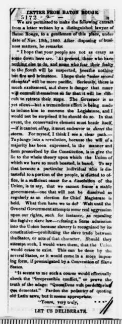 C. F. McCay to Abraham Lincoln, Tuesday, December 18, 1860  (Georgian outlines plan to save the Union)