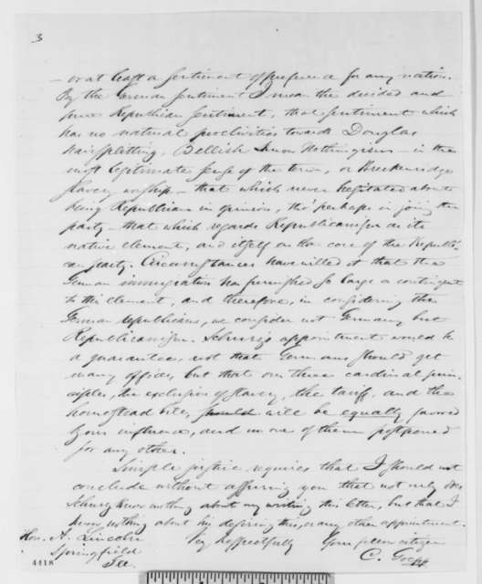 C. Goepp to Abraham Lincoln, Saturday, November 10, 1860  (Recommends Carl Schurz for cabinet)