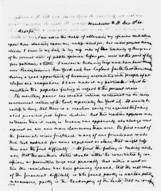 "Carl Schurz to Abraham Lincoln, Tuesday, December 18, 1860  (Report from East on public reaction to the ""present crisis"")"