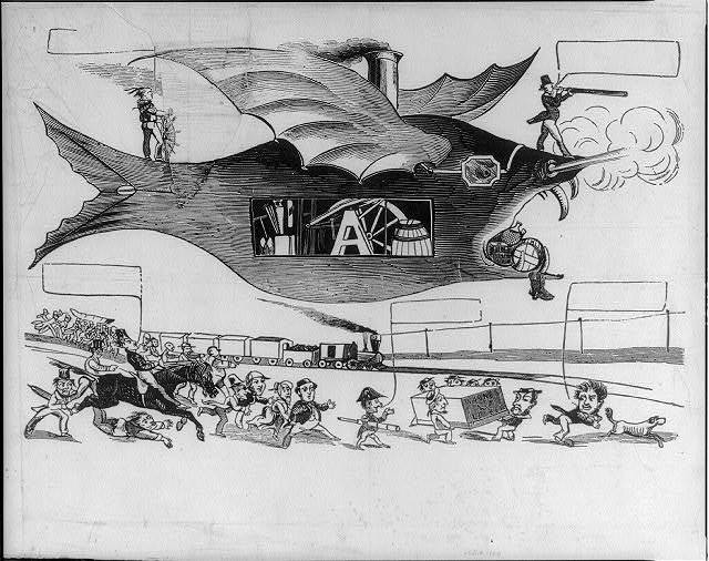[Cartoon showing monstrous balloon competing with railroad train as a freight carrier]