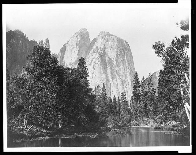 [Cathedral Rocks, with lake and trees in foreground, Yosemite Valley, Calif.]