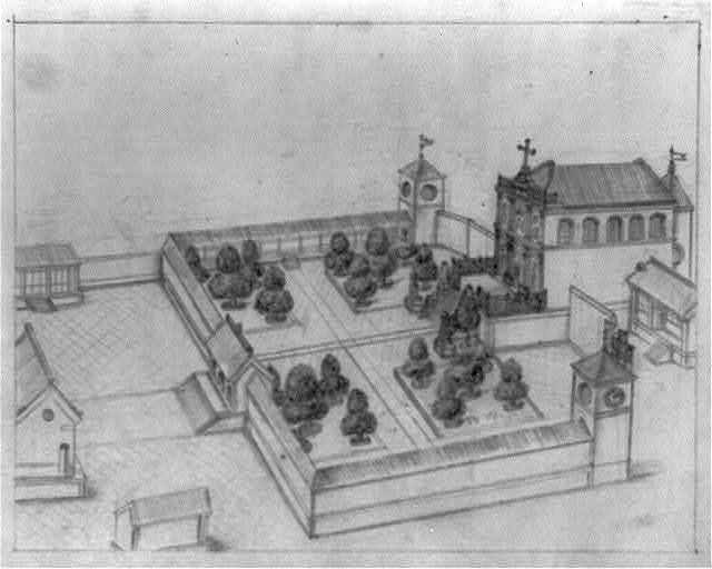 [Catholic church with walled courtyard garden in Beijing]
