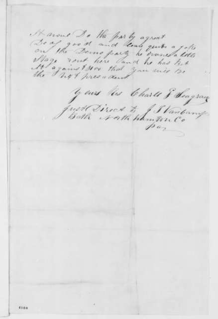 Charles G. Seagraves to Abraham Lincoln, Monday, October 22, 1860  (Stage driver stumps for Lincoln)