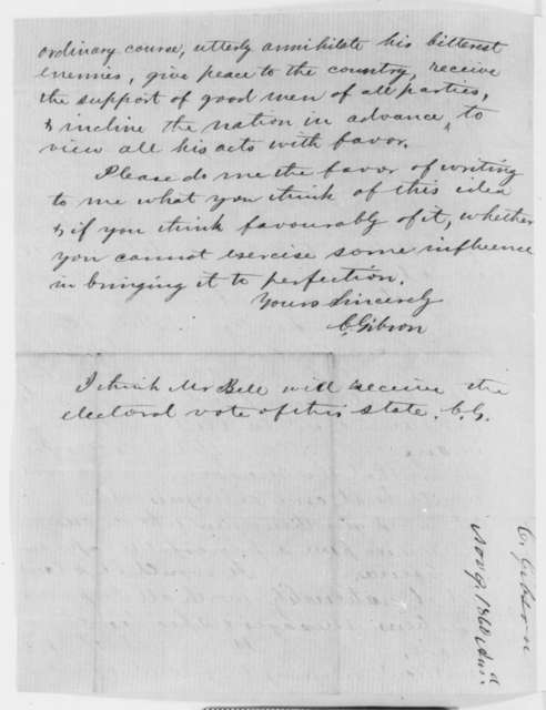 Charles Gibson to Orville H. Browning, Sunday, October 28, 1860  (Urges Southern Secretary of State)
