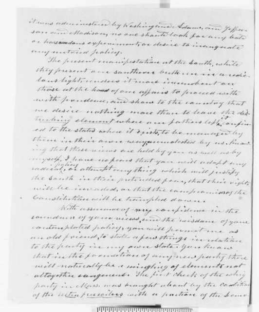 Charles Hudson to Abraham Lincoln, Tuesday, November 13, 1860  (Old friend sends congratulations and political advice)