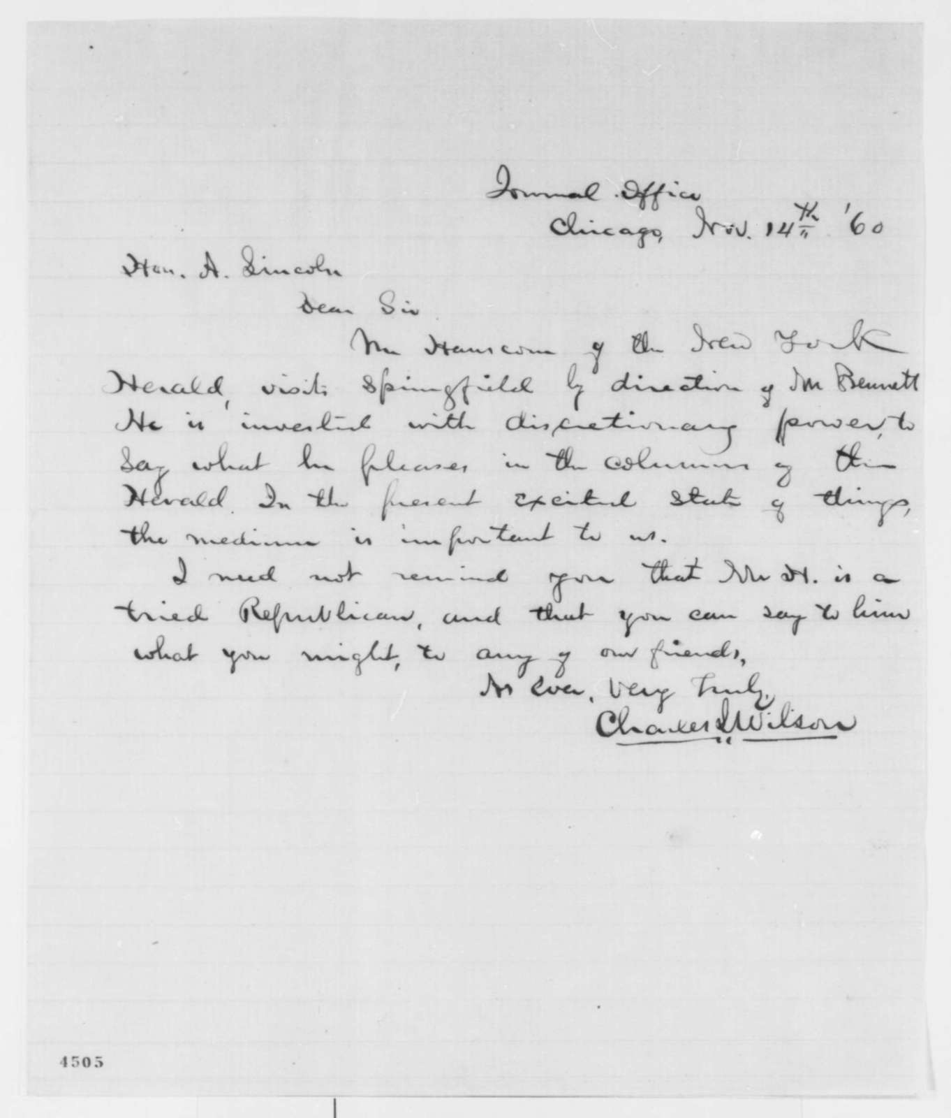 Charles L. Wilson to Abraham Lincoln, Wednesday, November 14, 1860  (Recommendation)