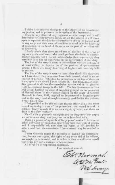 Charles Thomas to James Buchanan, Tuesday, June 19, 1860  (Printed letter concerning U.S. Army Quartermaster)