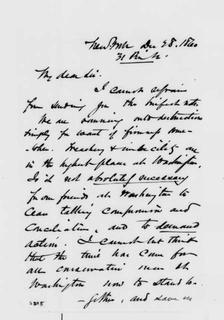 Charles W. Elliott to Abraham Lincoln, Friday, December 28, 1860  (Time to take action in the crisis)